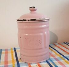 Vintage French Enamel Ware Canister Pink Shabby Chic