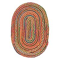 ⭐ Oval Jute Cotton Chindi Rag Rug Multicoloured Braided Recycled Shabby 3 Sizes