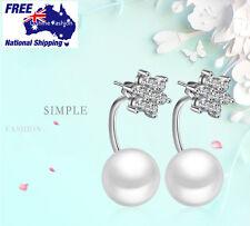 Sparkling Snow Flake Pearl Earrings 925 Sterling Silver Reversible Women Studs