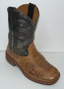 Dan Post Cowboy Western Brown & Tan Boots Youth Sz 12.5M