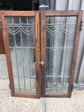pair vintage arts & crafts oak leaded glass cabinet doors 48/18/1 3/8� 3 panes