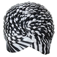 Bonnet Hat Turban pleated Wrap Head Indian Scarf extensible fabric for woman U9Z