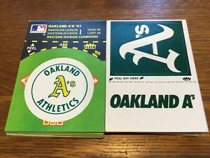 FORTY 1982 FLEER BASEBALL STICKERS OAKLAND ATHLETICS  (2) DIFFERENT (20) EACH