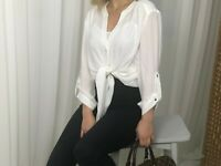 New Womens Long Tie front Work Blouse Ladies Casual Basic Top Shirt white, black
