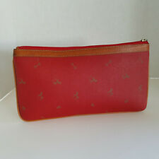 Vintage Petusco Red Pebbled Leather  Clutch Purse Document Bag Equestrian Horses