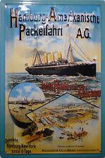 Hapag chapa escudo 20x30cm Barco de Vapor Hamburgo americana Packetfahrt AG post