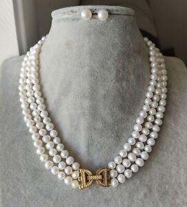 echte 6,5-7,5 mm weiße Süßwasserperlen 3-reihige Halskette 18-20 zoll Ohrringe