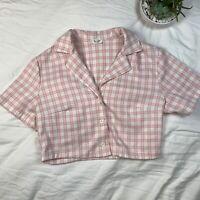 John Galt BRANDY MELVILLE  Vivian Pink Plaid Collar Crop Top Short Sleeve OS