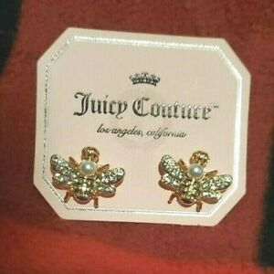Juicy Couture Gold Tone Bee Stud Earrings With Rhinestones & Faux Pearl