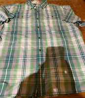 The North Face Button Front Shirt Men's XL Green Plaid Short Sleeve Cotton Euc