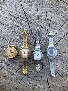 Lot Of 4 Vintage Luch Ladies Mechanical Women Rare Soviet USSR Wrist Watch Retro