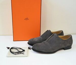 HERMES MENS BROWN SUEDE LACE UP SHOES SIZE 42 - boxed