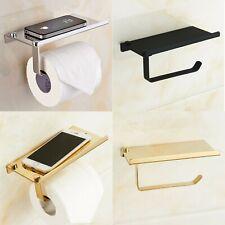 Holder Toilet Paper Phone Shelf Wall Storage Mounted Bathroom Mobile Rack Tissue