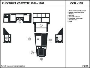 Carbon Fiber Dash Trim Kit for CHEVROLET CORVETTE 1986-1989 with manual shifter
