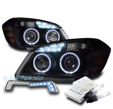 05-10 CHEVY COBALT HALO LED BLACK PROJECTOR HEADLIGHT LAMP W/BLUE DRL SIGNAL+HID