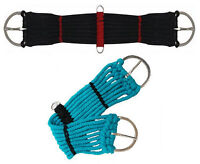 "Western Horse Mini Pony Rope Saddle Cinch Girth Black Turquoise 18"" 20"" 22"" 24"""