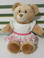 BUILD A BEAR  TEDDY BEAR BROWN EYES WHITE DRESS WITH PINK EMBROIDERY! 40CM