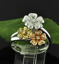 0.23 ct 14k Solid Tri Gold Ladies Natural Diamond Ring Made in USA Flower Design
