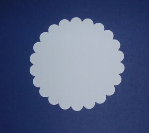 Scalloped Die Cut Circles In Smooth White Card- 5 Size Options
