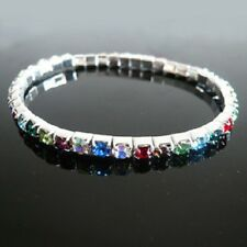 White gold plated crystal stretch bracelet 13 colours available