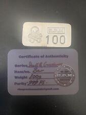 More details for 100g silver bar rios precious metals rpm skull & crossbones 100g bar