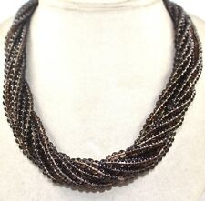 NATURAL SMOKY QUARTZ BEADS ROUND 11 LINE GEMSTONE NECKLACE WITH SILVER HOOK