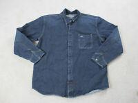 VINTAGE Nautica Jacket Adult Extra Large Blue Denim Jean Coat Mens 90s