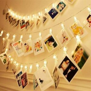 40 LED Battery Photo Clip Light Peg Fairy String Lights Wedding Picture Hanging