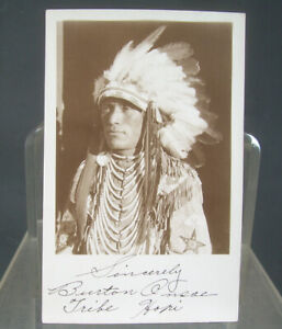 Signed CHIEF DANCER HOPI INDIAN 1924 Grand Canyon Arizona RPPC Photo Postcard