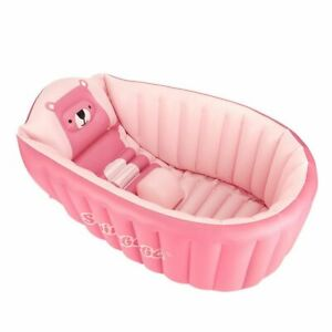 Inflatable Baby Bathtub Chair Bear Infant Bathing Seat Tubs Non Slip Swimming