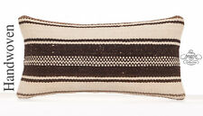 "Cute Handmade White Kilim Pillow Cover 10x20"" Striped Rug Pillowcase"