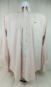 Southern Point Co Hadley Shirt Mens Small Orange and Blue Check Long Sleeve