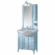 Mobile bagno classico azzurro cm 75 decapè piedini specchiera e pensile applique