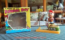 VINTAGE 1960's FISHING BOY TIN WIND UP TOY WITH BOX ~ NEW OLD STOCK ~ JAPAN