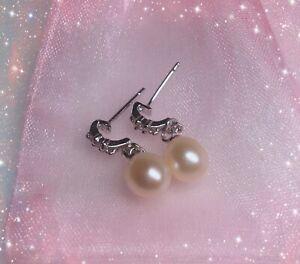 Nature Freshwater Pearl Rhinestone Beads Dangle Drop Earrings/AU Stock