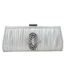 Anthony David Silver Pleated Lame' & Rhinestone Clutch Evening Bag