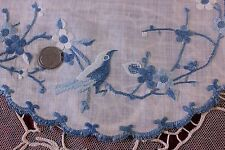 "Lot Of 10 Antique Silk Hand Emb Indigo Chinese Bird Doilies c.1900~10""Round"