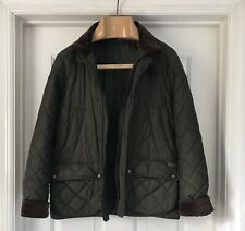 New Polo Ralph Lauren Green Quilted Jacket Leather Details L Large