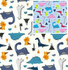 Cotton Poplin  Dinosaur Fabric Material - 0789