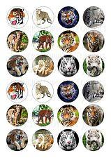 24 le tigri animali Cupcake Topper Wafer Di Riso Commestibile Fata Torta Decorazioni Per Chignon