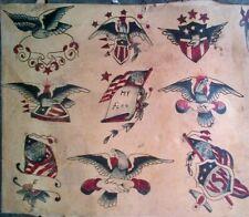 RARE ORIGINAL PATRIOTIC 1920-30s CLASSIC  BOWERY TATTOO FLASH SHEET