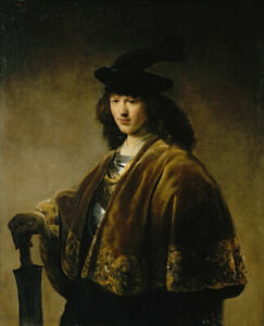 Oil painting govert teunisz flinck - Portrait of a young man with a sword canvas