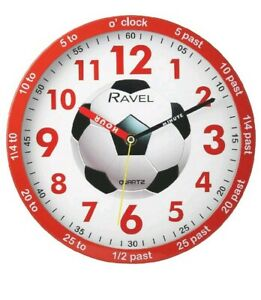 Red Children kids Football Time Teacher Bedroom Wall Clock quiet Sweep