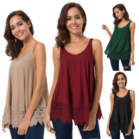 Womens Summer Strappy Vest Top Sleeveless Shirt Blouse Casual Loose Tank Tops