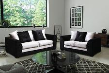 Dylan Crushed Velvet Black and Grey 3+2 Seater Sofas Brand New Design Modern