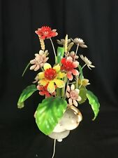 BEAUTIFUL Vintage Chic Tole Flower (Floral) Table Lamp with Under Lighting