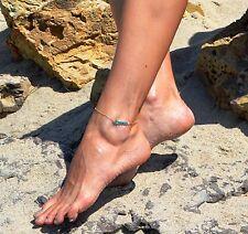 Stylish, Elegant, Gold & Blue Crystal Beads Anklet, Beach Jewellery (0132)