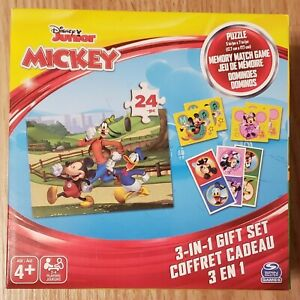 NEW - Disney Junior MICKEY 3-in-1 Set - Puzzle, Memory Match Game & Dominoes