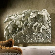 Neptune's Horses of the Sea Sculptural Wall Frieze Designer Accent Home Decor