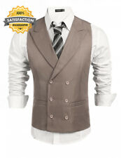 Coofandy Mens Waistcoat Double Breasted Slim Fit Formal Wedding Suit Vests
